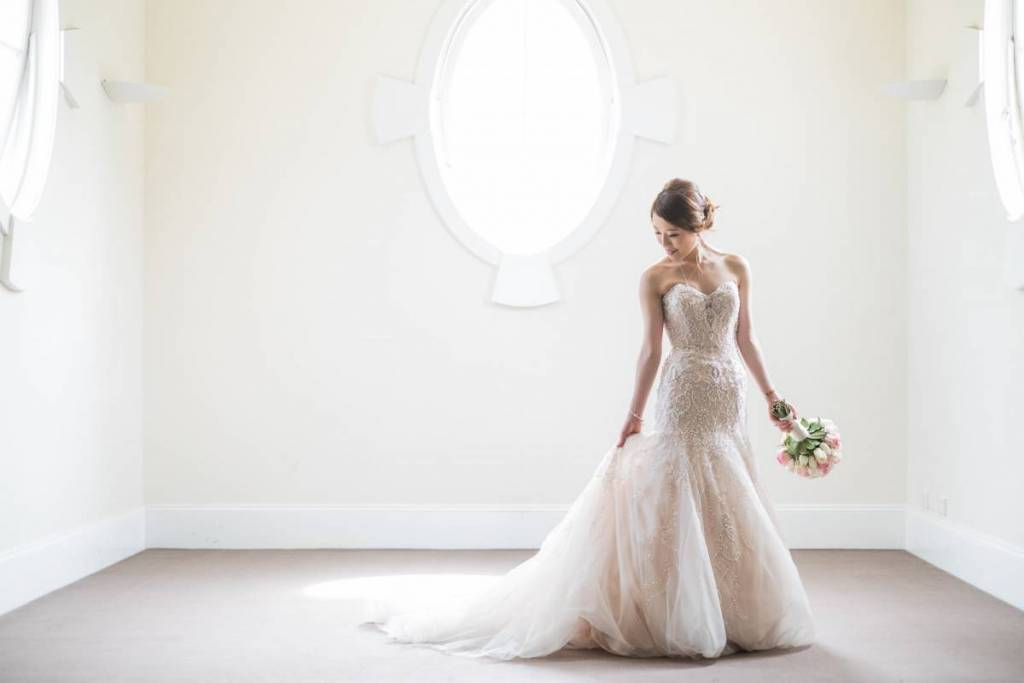 The bride and her stunning wedding gown