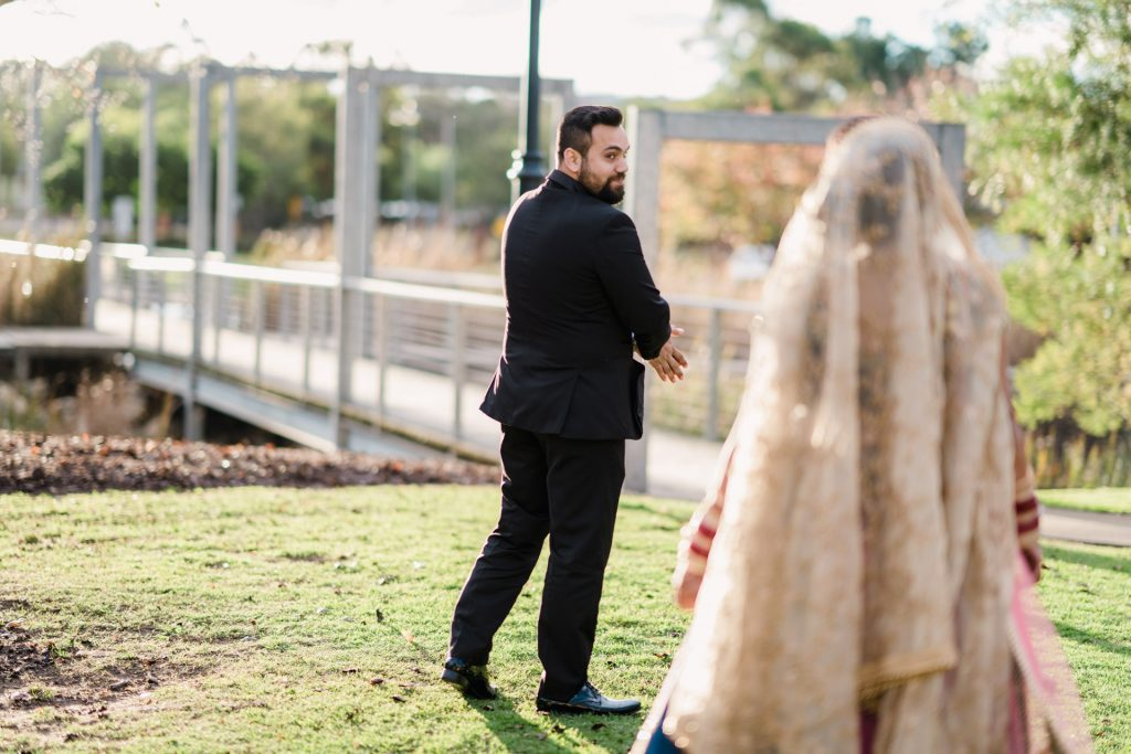 Bride & Groom's first look - Fuzzy Pear Studio Sydney Wedding Photography